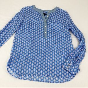 Talbots Blue Printed Long Sleeve Blouse, Small